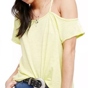 Free People Neon Cold Shoulder Yellow Shirt Top
